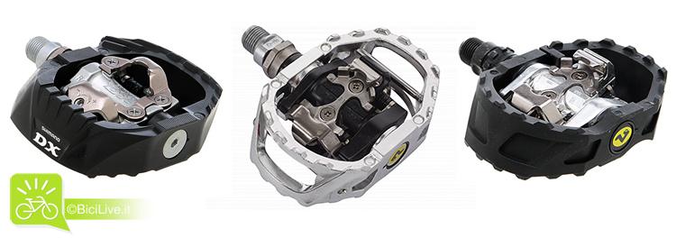 foto dei tre pedali a sgancio con piattaforma Shimano