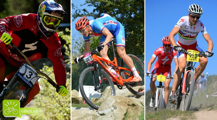Tre biker di fama internazionali in sella a mountain bike specialized