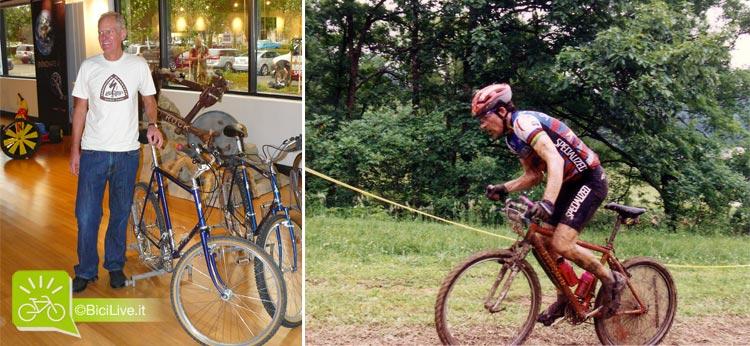 Il fondatore di Specialized Mike Sinyard e il biker  Edmund Ned Overend in azione