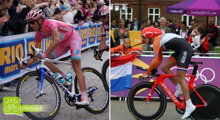 Nibali in rosa durante il Giro d'Italia e l'atleta olandese Van Dijik