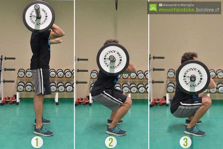 Sequenza di front squat per potenziare le gambe