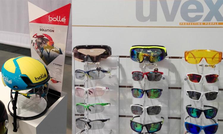 Caschetto da ciclista Bollè e occhiali per ciclisti Uvex