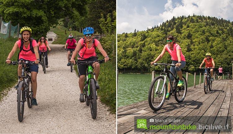 cicliste pedalano nell'Alpe Cimbra