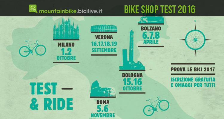 locandina con calendario delle fiera della bicicletta Bike Shop Test 2016