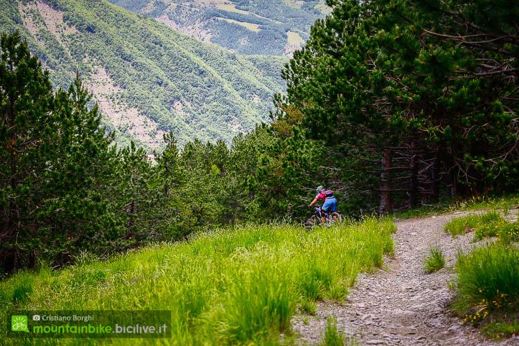 foto di La nostra Elena Martinello su un tratto ciottoloso del trail Pino Solitario.