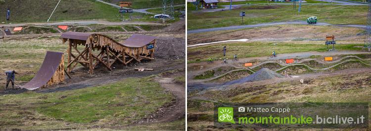 foto delle strutture e dei trail del bike park mottolino
