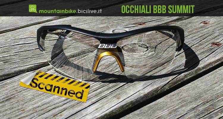 foto frontale degli occhiali mtb bbb summit