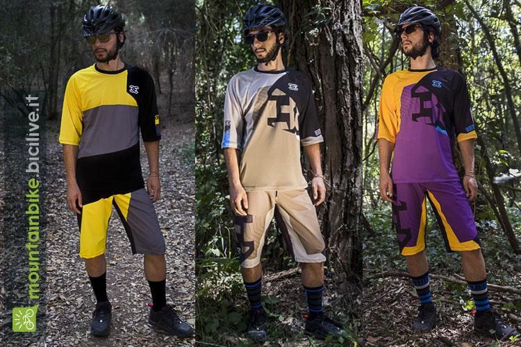 L'immagine mostra abbigliamento mountain bike uomo della nuova collezione 2017 Double3: pantaloncini baggy e maglia 3/4 dedicati al downhill, trail, enduro.