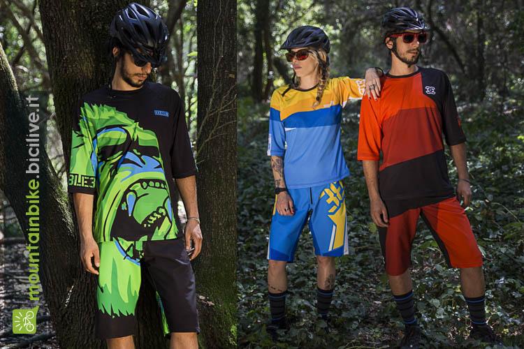 L'immagine mostra abbigliamento mtb enduro del brand Double3, pantaloncini corti baeggy mountain bike e maglia 3/4.