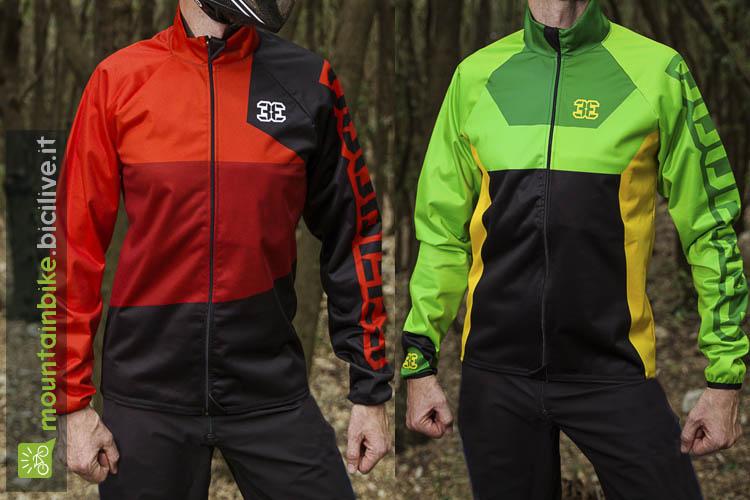 L'immagine mostra due giubbini anti pioggia della nuova ganmma di abbigliamento mountain bike del brand Double3.