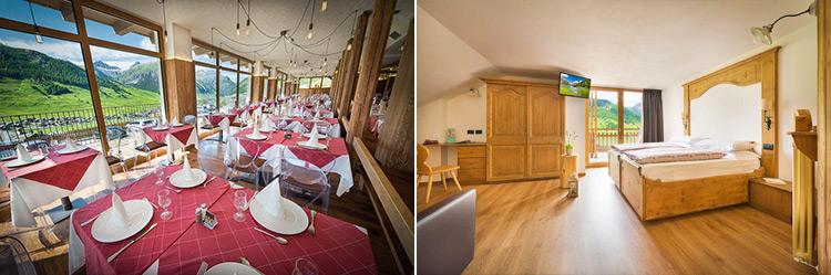 foto delle camere e sala da pranzo all'alpen village hotel di livigno