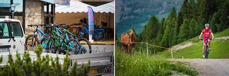 foto di un carrello posrta bici e di una ciclabile vicino all'hotel Alpen Village