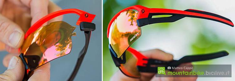 foto delle astine e del sistema di sgancio lente degli occhiali scott spur