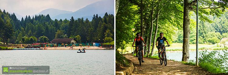 foto di alcuni ciclisti nei pressi del lago di lavarone