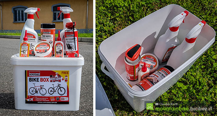 foto dei prodotti soudal per la cura della bici