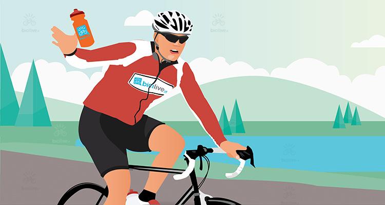 un ciclista riceve una borraccia contenente una bevanda isotonica