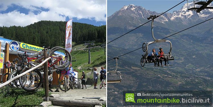 seggiovia Chamolé a Pila con panorama con vette alpine