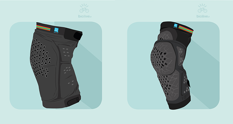 illustrazione di due modelli differenti di ginocchiere mtb