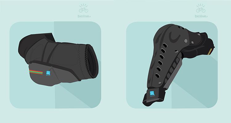 Due modelli di gomitiere per mountain bike, a sinistra morbida e a destra con snodo e materiale plastico più rigido.