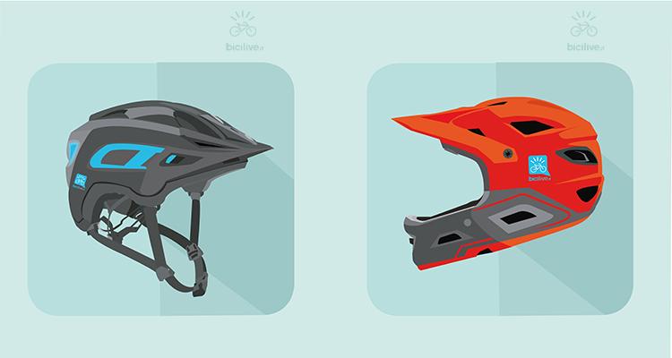 A sinistra un classico caschetto mtb, a destra una casco integrale moderno per enduro e downhill dotato di molte prese d'aria.