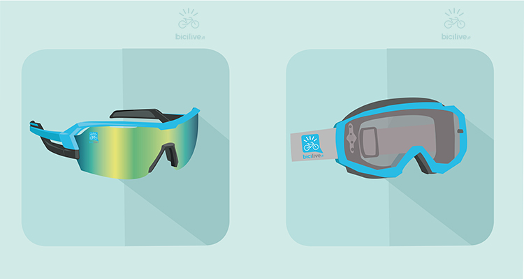 Un moderno paio di occhiali mtb con monolente intercambiabile e una mascherina per enduro e downhill