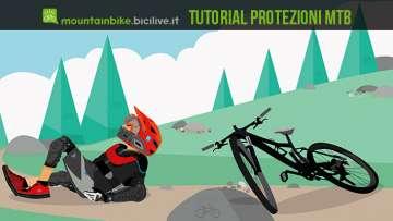 illustrazione di un biker con protezioni dopo una caduta con la sua mtb