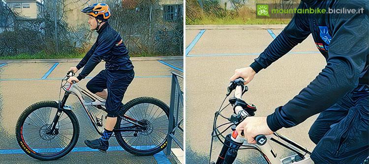 immagine di un biker su una mtb per la regolazione della sella