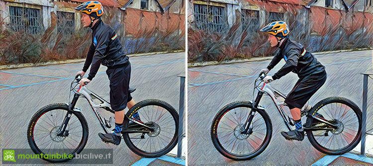 immagine di un biker su una mtb in posizione scarica e di attacco