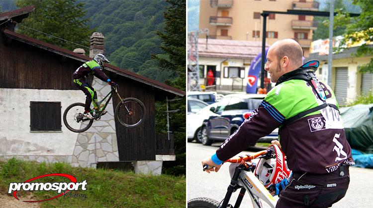 un ciclista del Promo Sport Racing salta e uno pedala