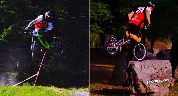 un ciclista fa downhill e uno trial bike