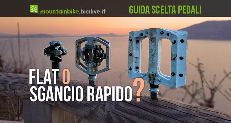 foto di tra tipi di pedali mtb: sdp , clipless con piattaforma a sgancio rapido e flat