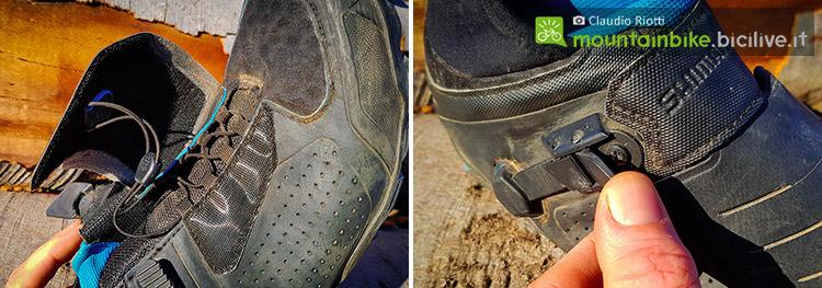 foto della scarpa mtb spd shimano me7 e la sua allacciatura