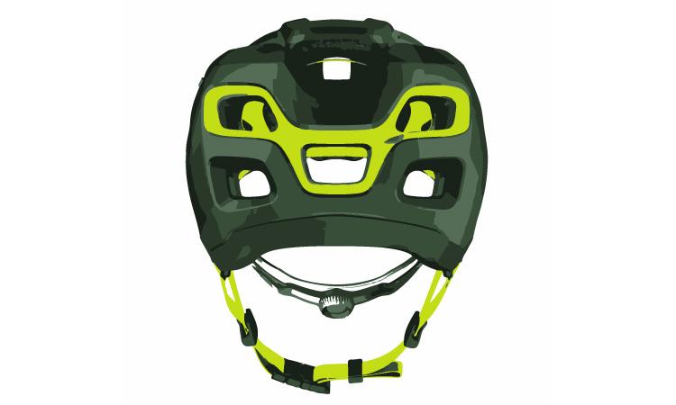 parte posteriore e sistemi di fissaggio di un casco da mtb