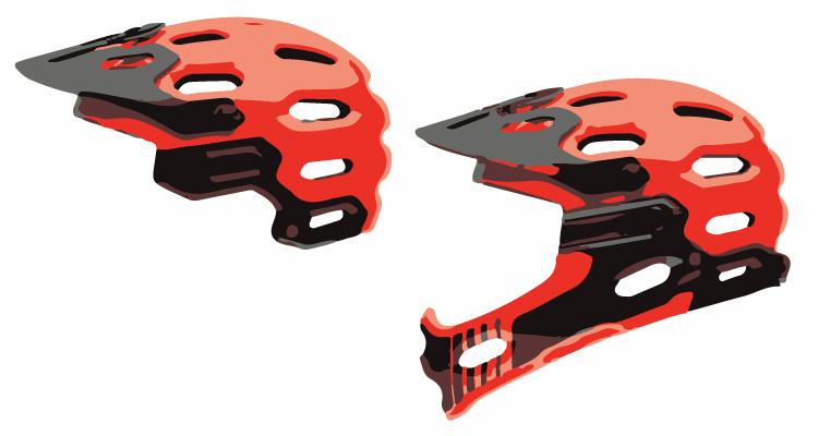 casco da bici con mentoniera removibile