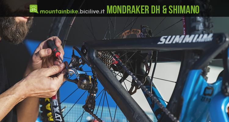 le bici mondraker dh dal 2017 con montato il gruppo shimano saint