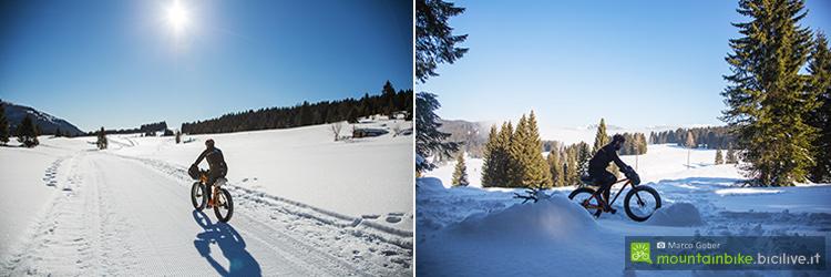 foto di Due scorci dei paesaggi che si incontrano percorrendo gli anelli per fat bike dell'Alpe Cimbra.