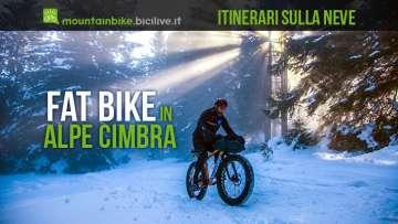 fat bike sulla neve in alpe cimbra in trentino
