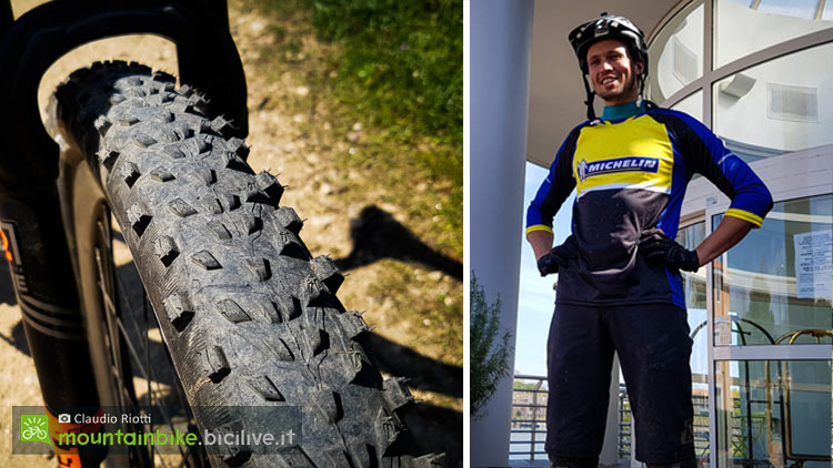 """foto con A sinistra il Force XC in versione 29x2.25"""", a destra Vincent Ledieu, product manager Michelin"""