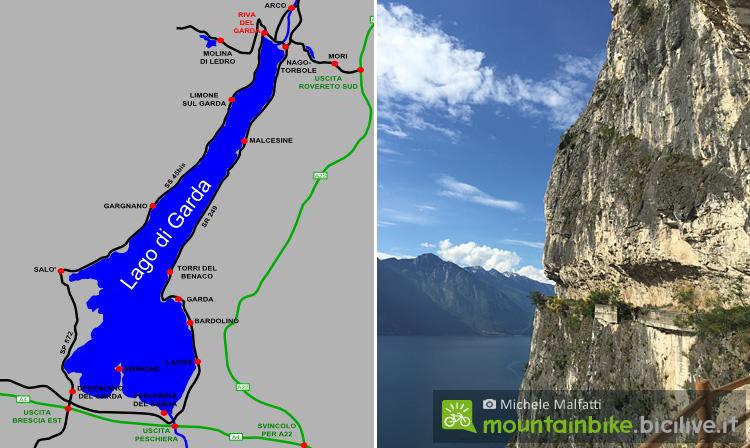 mappa e panorama della strada del ponale sul lago di Garda