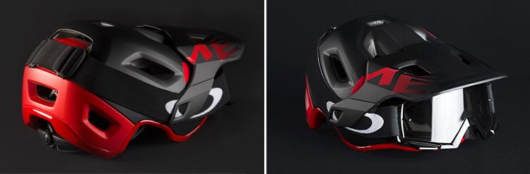 mascherina montata su un casco met roam