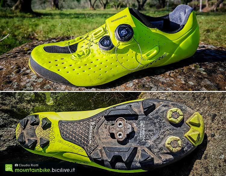 foto della scarpa mtb shimano sphyre xc9 e della suola michelin