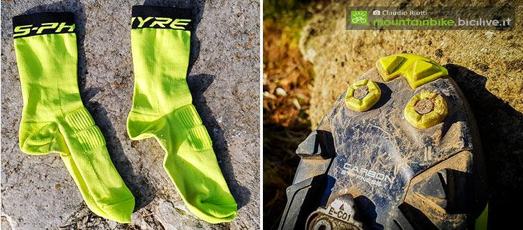 foto delle calze Shimano Sphyre e il puntale della scarpa
