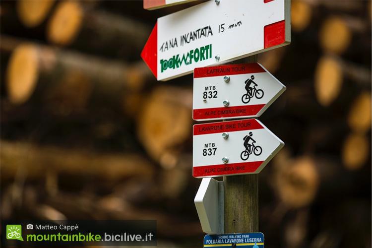 indicazioni dei sentieri per mtb a Folgaria