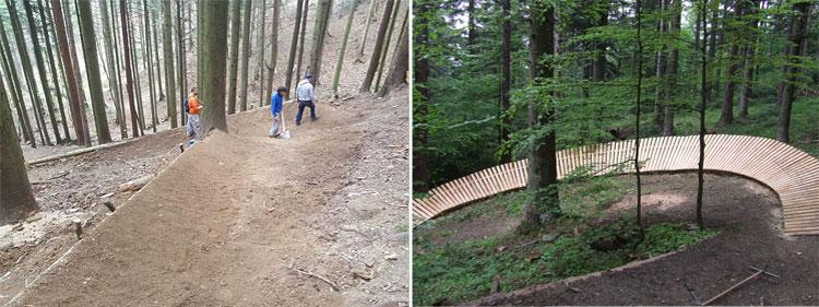 strutture artificiali e sponde nei trail del cimone bike park