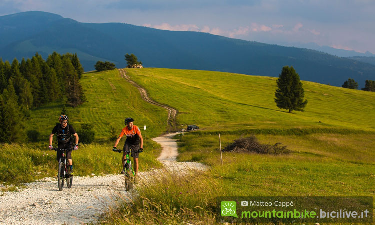 ciclisti in alpe cimbra tra estate e autunno