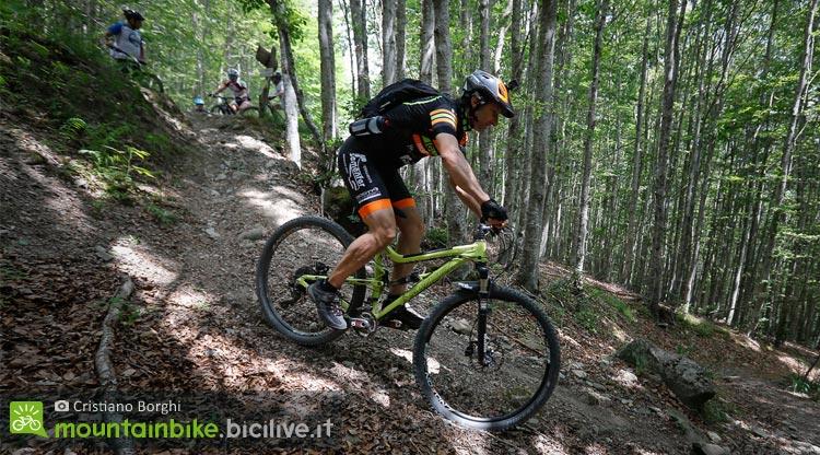 biker scende un trail nel bosco a sestola