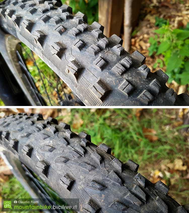 foto dei pneumatici mtb il Michelin Wild AM e sotto il Force AM
