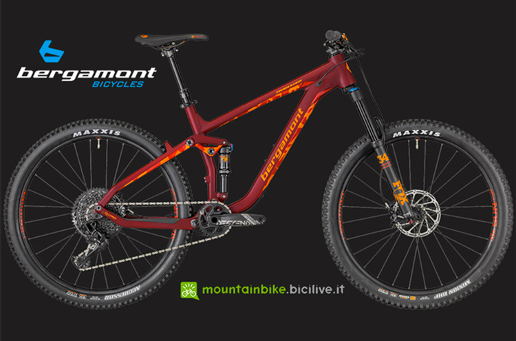 La mtb all mountain in carbonio Bergamont Trailster Elite in bordeaux.