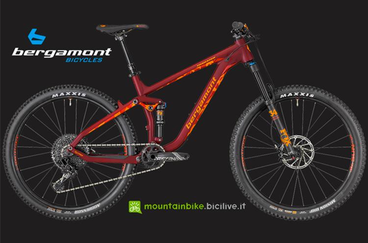 La mtb all mountain in carbonio Bergamont Trailster Elite in bordeaux.