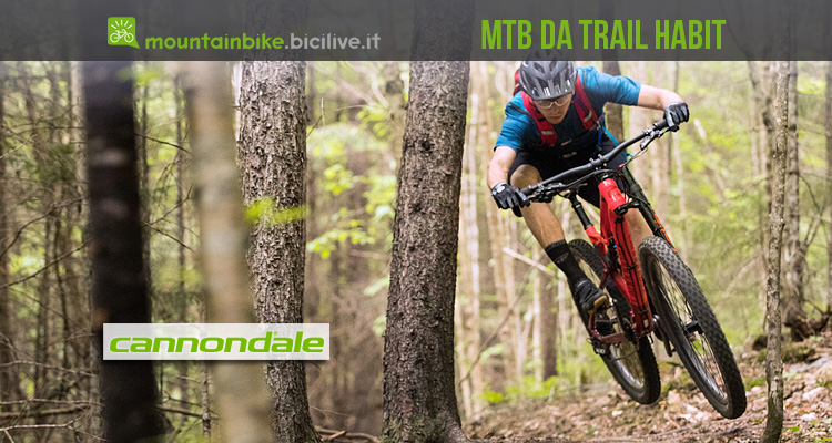 biker su un trail in sella a una Cannondale Habit